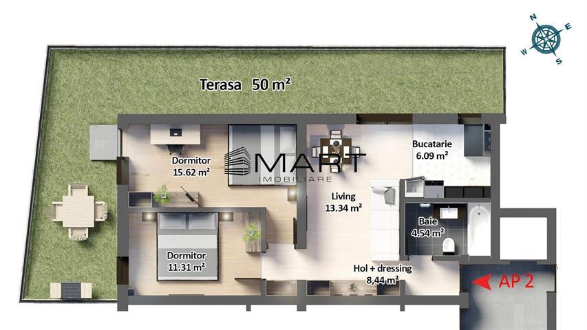 Apartament 3 camere cu curte si pivnita