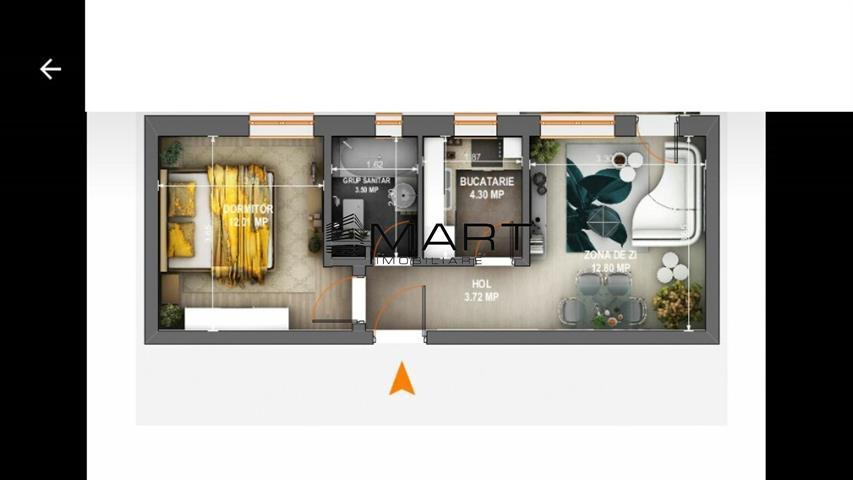 Apartament 2 camere decomandat + curte 70 mp  str. Ricci