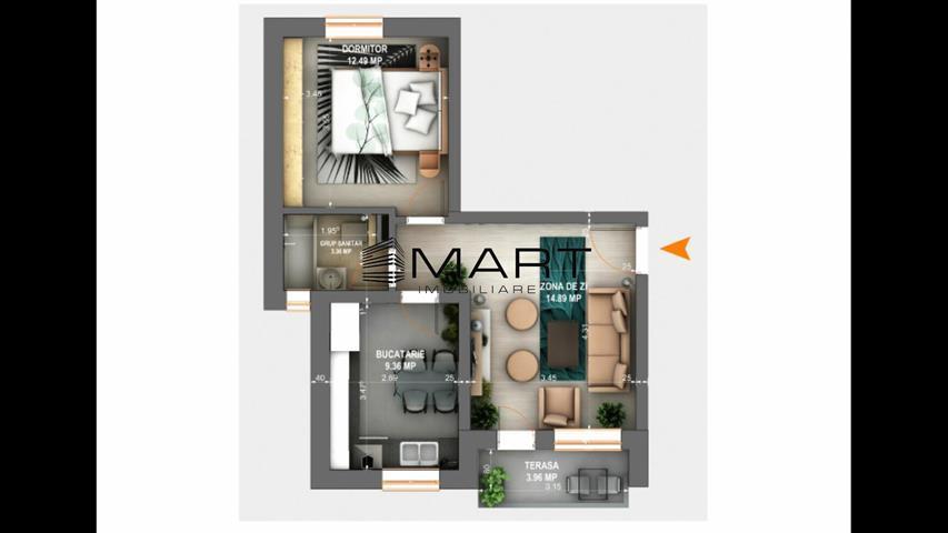 Apartament 2 camere etaj 1 zona Calea Cisnadiei