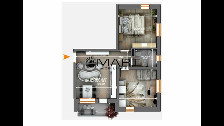 Apartament 3 camere zona Tiberiu Ricci