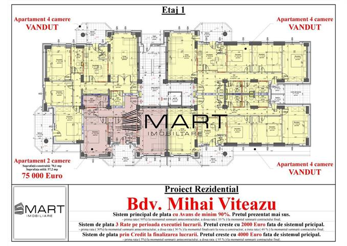 Apartament 2 camere decomandat etaj 1 zona Mihai Viteazul