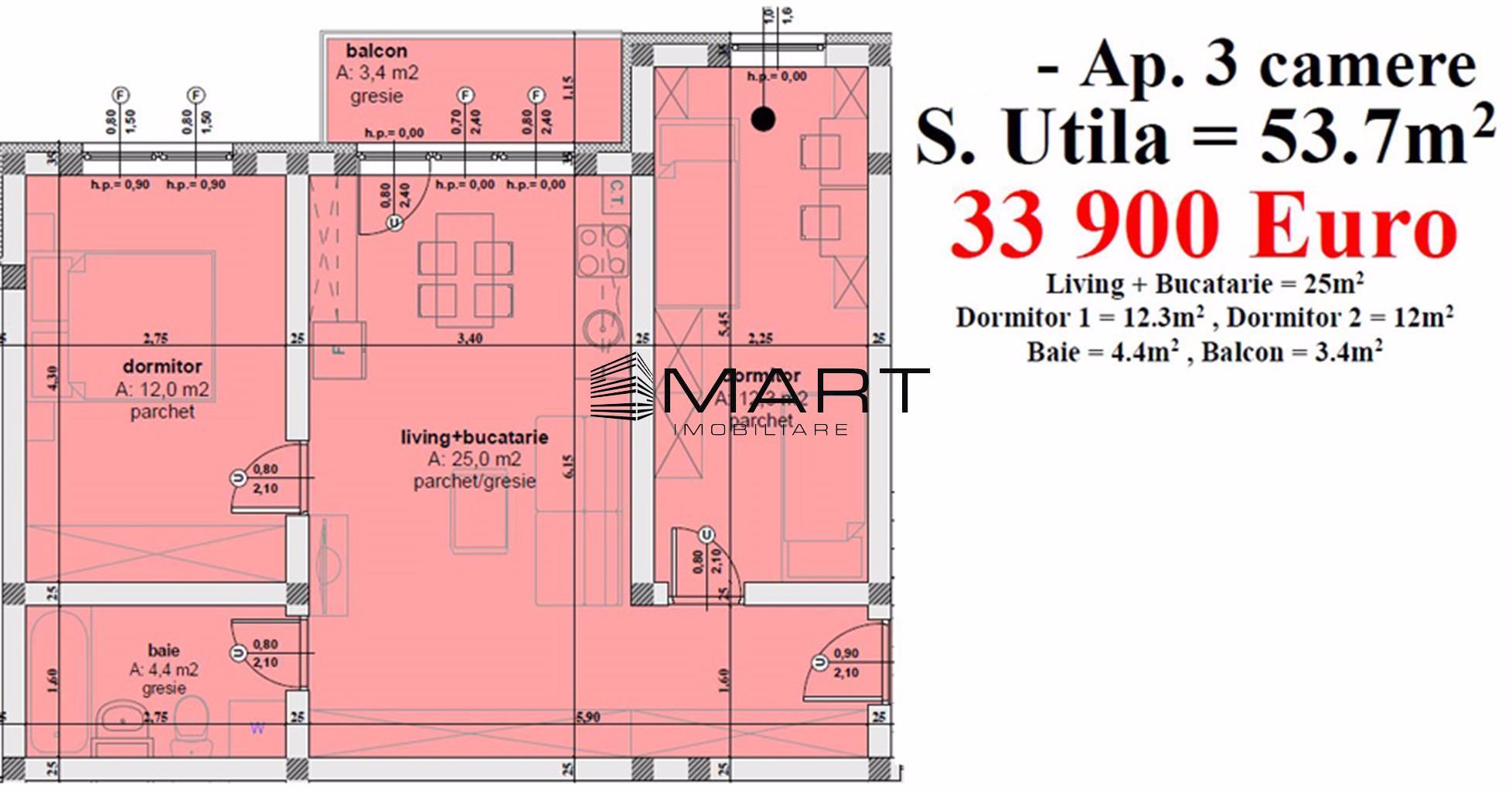 Apartament 3 camere 53.7 mp utili zona Calea Cisnadiei
