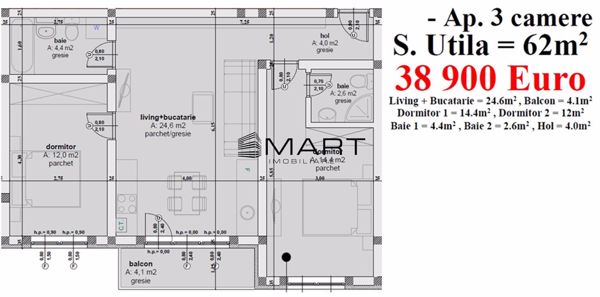 Apartament 3 camere 62 mp utili
