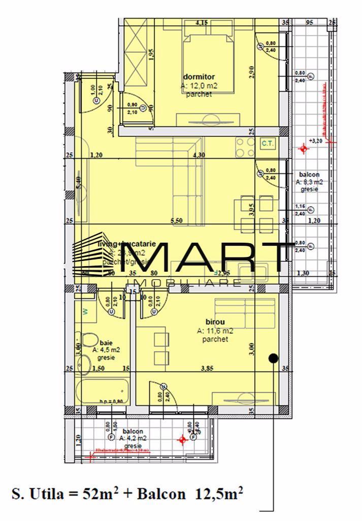 Apartament 3 camere 52 mp utili zona Calea Cisnadiei