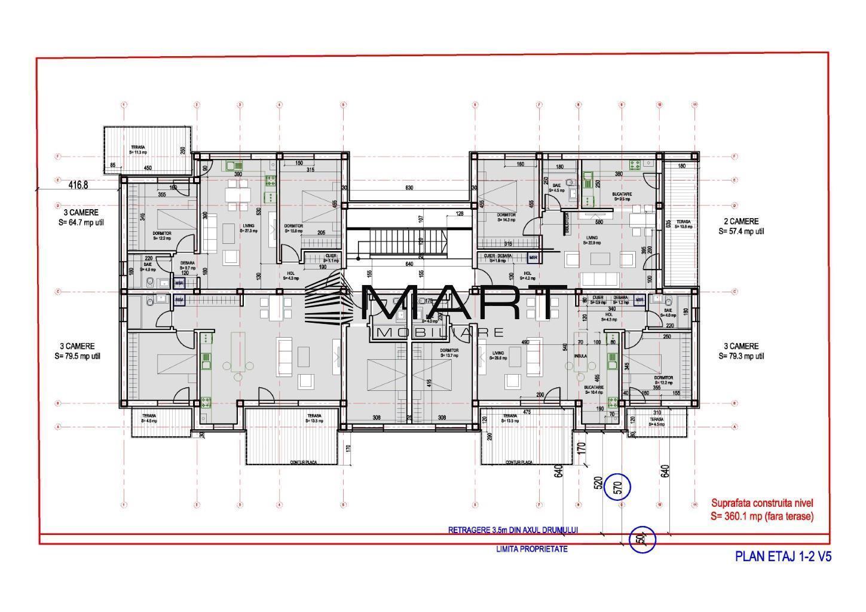 Apartament 3 camere curte 50 mp la cheie zona Brana