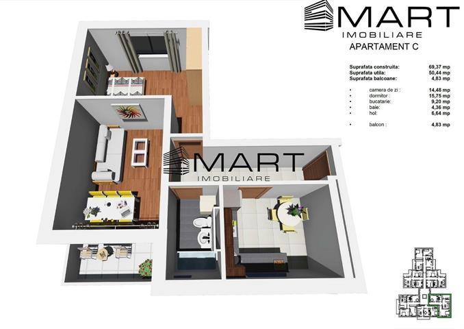Apartament 2 camere decomandat spatios zonaTineretului