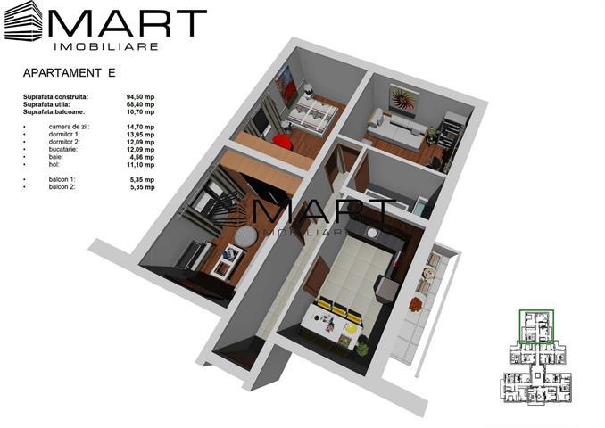 Apartament decomandat 3 camere zona Tineretului