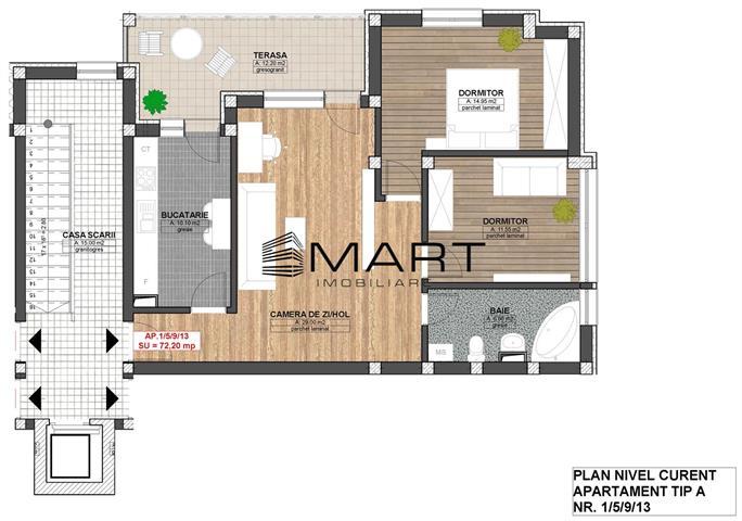Apartament 3 camere 72 mp utili zona Alba Iulia