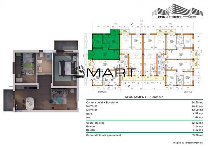 Apartament 3 camere 52 mp utili