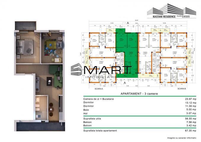 Apartament 3 camere 56 mp utili
