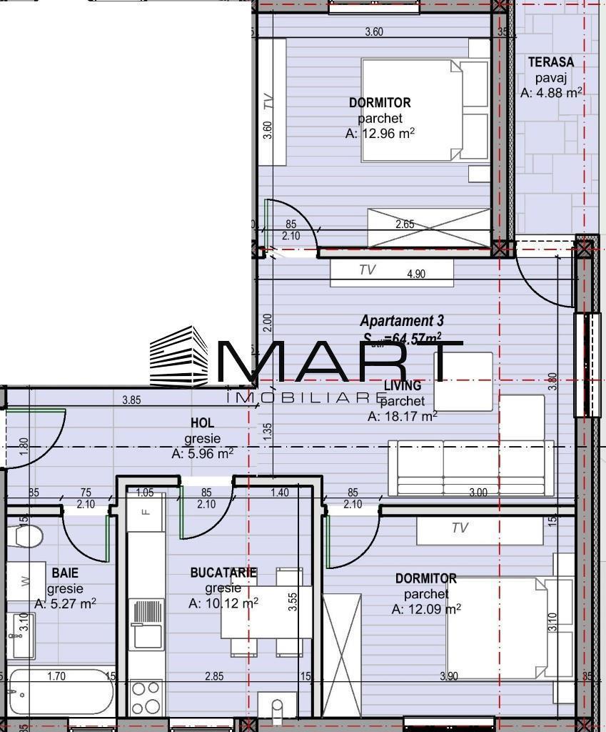 Apartament 3 camere zona Calea Cisnadiei curte 65 mp
