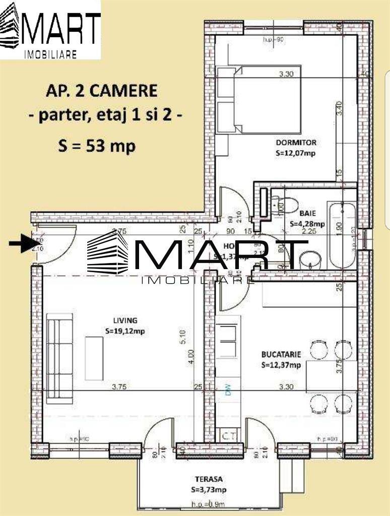 Apartament 2 camere 53 mp utili zona calea Cisnadiei